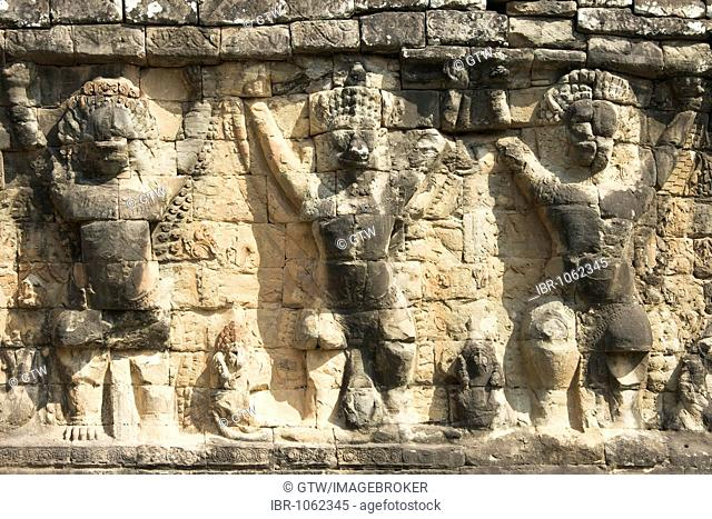 Wall with garudas and lions, Terrace of the Elephants, Angkor Thom, UNESCO World Heritage Site, Siem Reap, Cambodia, Southeast Asia