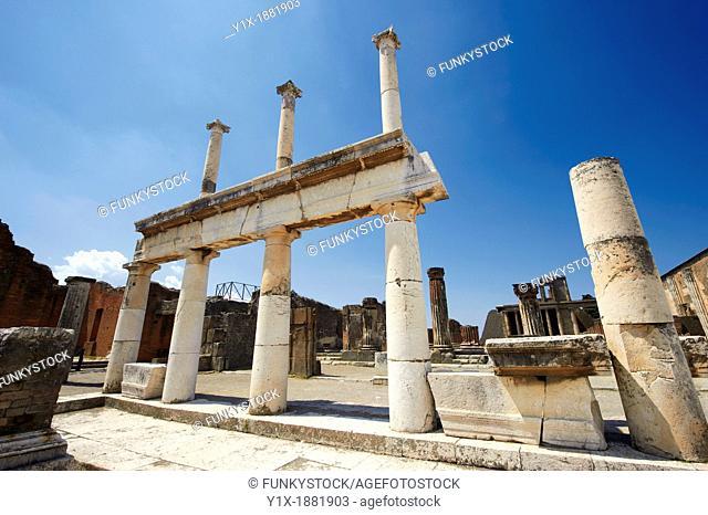 Doric & Corinthian columns of the Roman colonade in the Forum of Pompeii