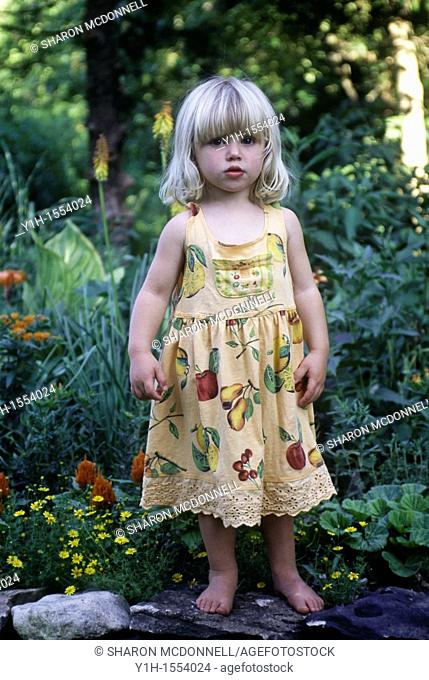 Blonde young girl, 3-4 years old, standing on rock wall in garden on a summer morning