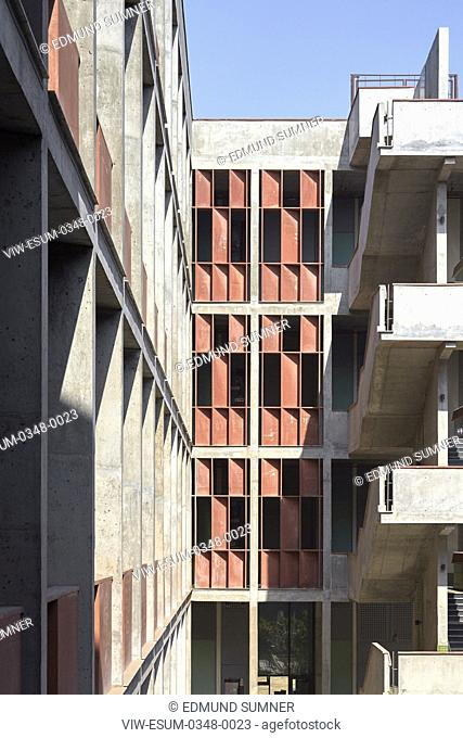 Inner courtyard view from upper level. The Institute of Engineering and Technology (IET), Ahmedebad, India. Architect: Vir.Mueller Architects, 2015