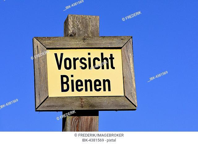 Warning sign, Vorsicht Bienen, caution bees, North Rhine-Westphalia, Germany