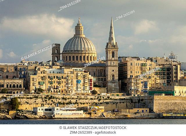 Late afternoon at Valletta, Malta. A view from Sliema