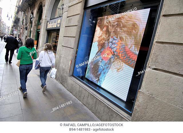 Advertising of clothing store, Carrer Ferran street, Barcelona, Catalonia, Spain