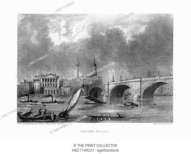 London Bridge, London, 19th century. View across the Thames from Southwark, with Fishmongers' Hall, the Monument and the spire of St Magnus the Martyr visible...