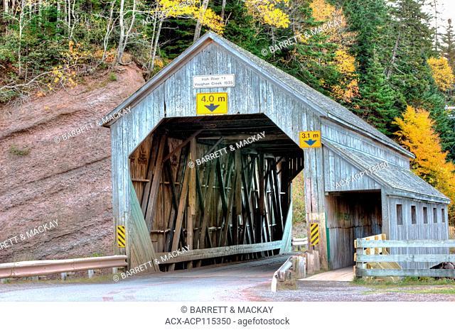 Irish River #1 Covered Bridge, Vaughan Creek, St. Martins, Bay of Fundy, New Brunswick, Canada