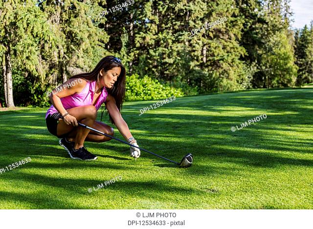 A female golfer places a golf ball on a tee and gets ready with her driver to tee off; Edmonton, Alberta, Canada