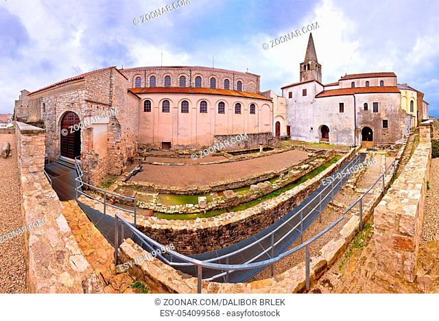 Euphrasian Basilica in Porec panoramic view, UNESCO world heritage site in Istria, Croatia
