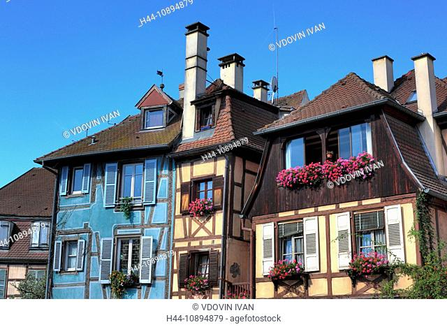 France, French, Western Europe, Europe, European, Architecture, building, City, town, Alsace, house, houses, half-timbering, timber-framing, Blue sky, Colmar