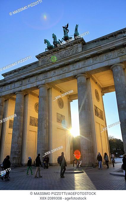 The Brandenburg Gate at sunset, Berlin, Germany