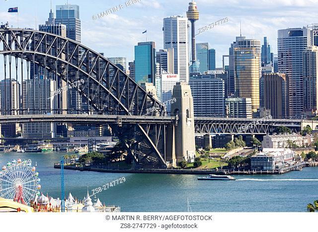 Sydney cityscape and harbour bridge, New South Wales, Australia