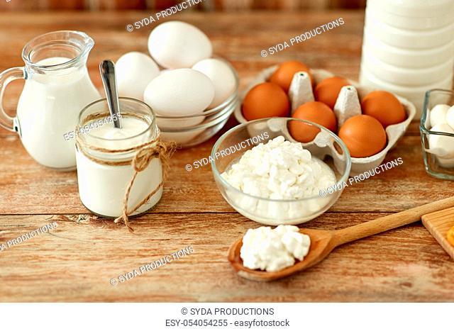 cottage cheese, yogurt, milk and chicken eggs