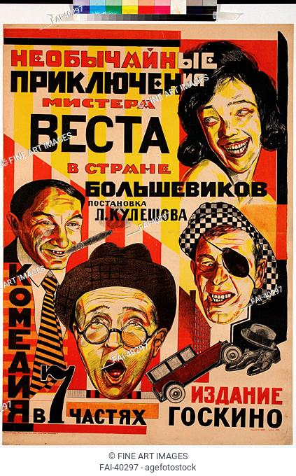 Movie poster The Extraordinary Adventures of Mr. West in the Land of the Bolsheviks by Anonymous /Colour lithograph/Communication design/1924/Russia/Russian...