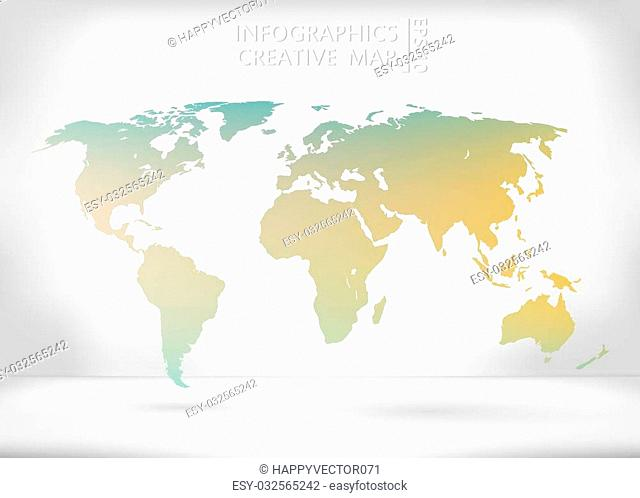 Abstract creative concept vector map of the world for Web and Mobile Applications isolated on background. Vector illustration, creative template design