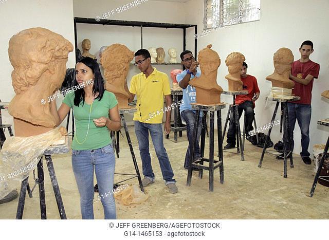 Dominican Republic, Santo Domingo, Ciudad Colonial, Calle Isabel La Catolica, Escuela Nacional de Artes Visuales, visual arts academy, Hispanic, Black, student