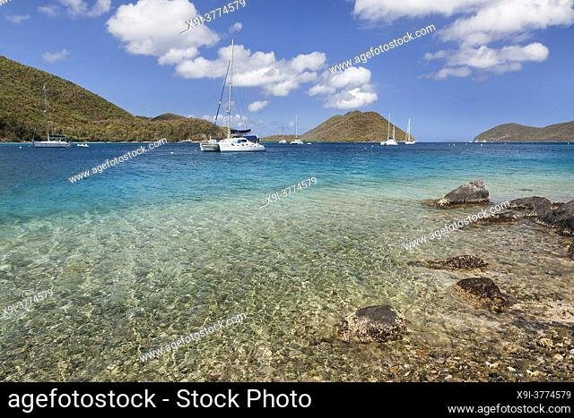 View of Leinster Bay with boats in harbor on the island of St. John in the United States Virgin Islands