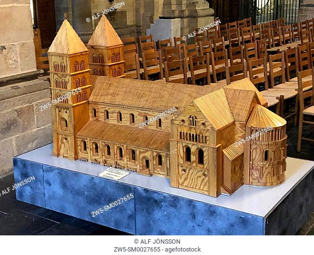 Wooden model of Lund cathedral, Lund, Scania, Sweden