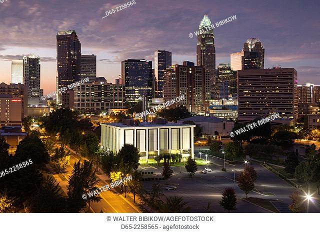 USA, North Carolina, Charlotte, elevated view of the city skyline from the southeast, dusk