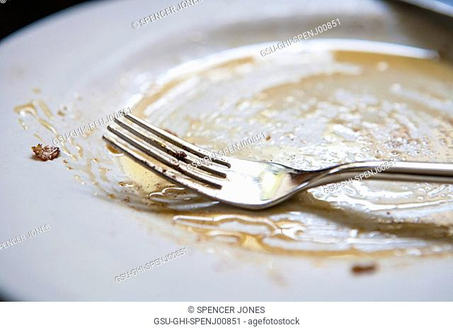 Empty Plate and Fork with Syrup