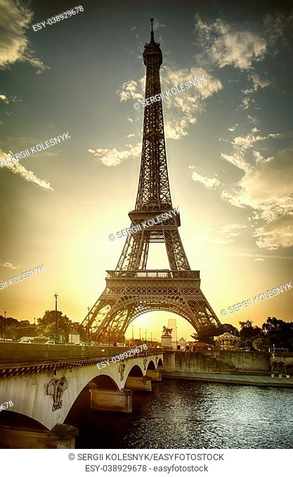 View on Eiffel Tower and Pont d'Iena on Seine in Paris, France