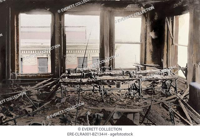 Triangle Shirtwaist Factory interior gutted by the fire that killed 146 women workers on March 25 1911. Managers locked the fire exits to prevent thefts...