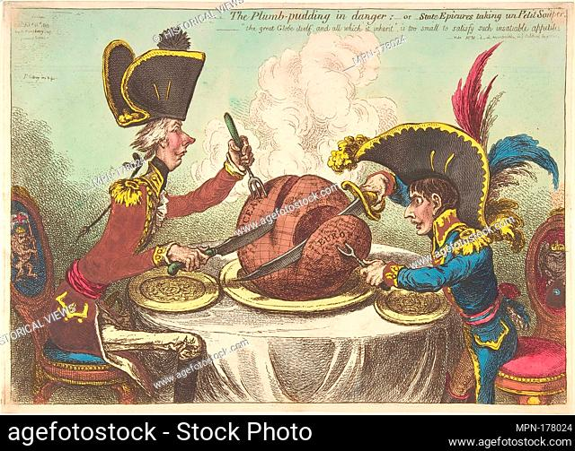 The Plumb-Pudding in Danger;-or-State Epicures Taking un Petit Souper. Artist: James Gillray (British, Chelsea 1756-1815 London); Publisher: Hannah Humphrey...