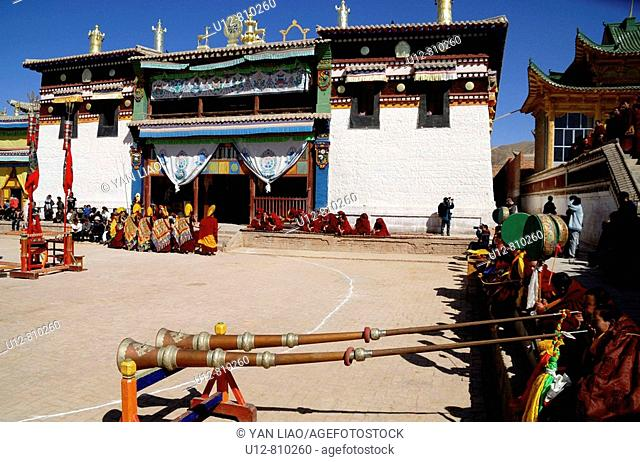every year traditional Tibetan Buddhas Thangka festival in Gansu Labulengsi celebrate.this is tibetan very holy and most important festival