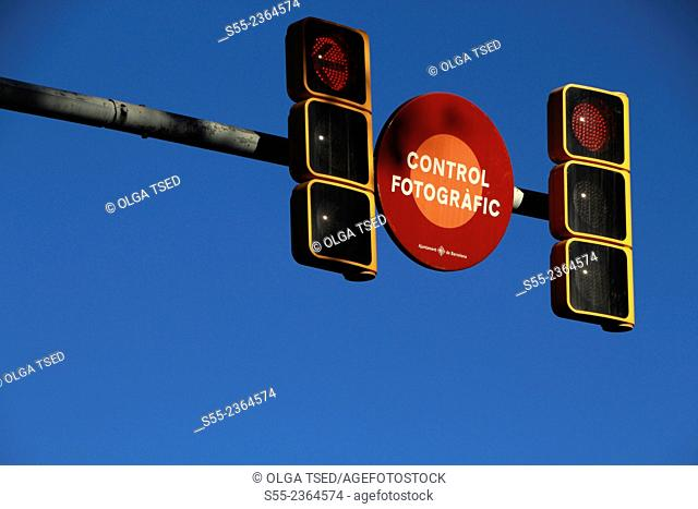 Photografic control, control fotografic and traffic lights. Barcelona, Catalonia, Spain