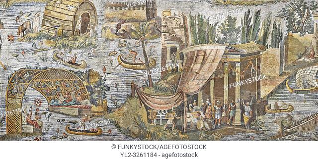 Detail picture of a temple surrounded by the flooded Nile from the famous Roman Hellenistic Nilotic landscape Roman Palestrina Mosaic or Nile mosaic of...