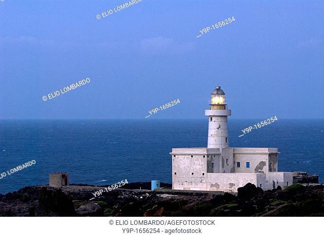 Punta Spadillo lighthouse, Pantelleria Island, Trapani, Sicily, Italy