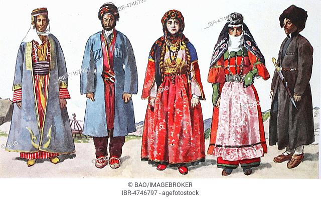 Fashion, historical clothes, folk costumes in the southwestern Caucasus and Armenia in the 19th century, illustration, Caucasus