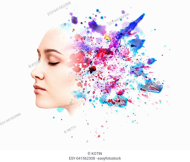 Double exposure portrait of young woman and watercolor paint isolated on white