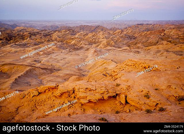 Overview of the Namib Desert at sunset near Swakomund, Namibia
