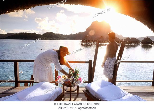 breakfast in Bora Bora Lagoon Resort.bora bora.Polynesia