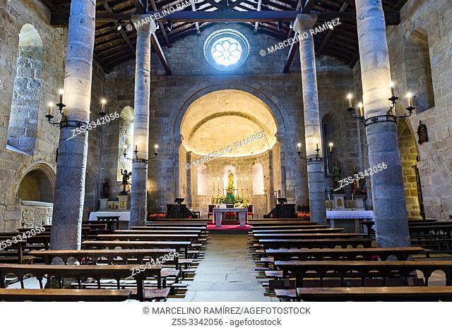 Interior, nave of Santa Maria de Campo Church. Viveiro, Lugo, Galicia, Spain, Europe