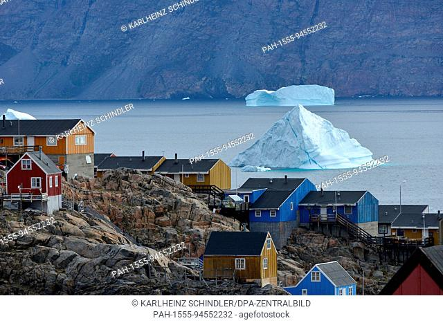 View of the small town of Uummannaq located on a rocky island in the fjord of the same name, around 500 kilometres north of the polar circle on the west coast...