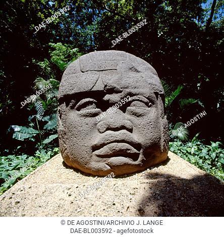 Colossal head, Monument 1, Villahermosa, Tabasco, Mexico. Olmec civilisation, 11th-5th century BC.  Villahermosa, Parque-Museo La Venta