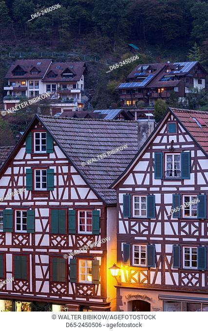 Germany, Baden-Wurttemburg, Black Forest, Schiltach, traditional building details, dawn