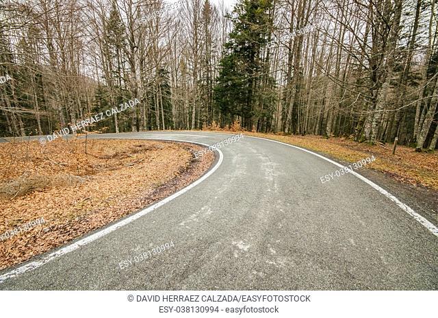 Mountain road in fall season in Navarra, Spain