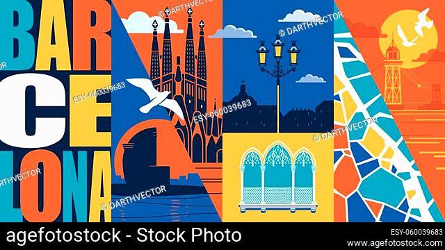Spain, Catalonia vector skyline illustration, postcard. Travel to Barcelona design element with Spanish, Barcelonian landmarks - Barceloneta beach