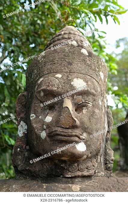 Close-up statue of god, Angkor Thom, UNESCO World Heritage Site, Angkor, Siem Reap,Cambodia, Indochina, Southeast Asia, Asia