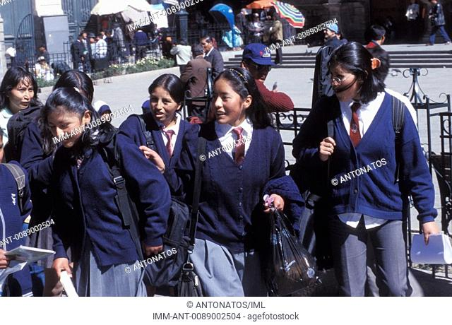 Bolivian girls with shool suits in a street  La Paz, Bolivia, South America
