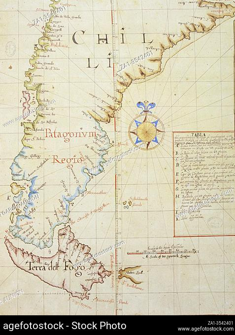 Strait of Magellan map, 1671. Southern tip of South America, discovered in 1530 by Ferdinand Magellan. General Archive of Indies, Seville