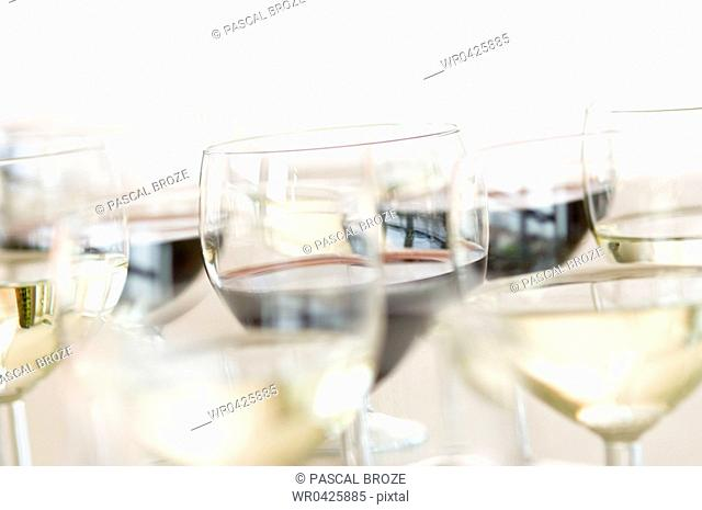 Close-up of glasses of wine