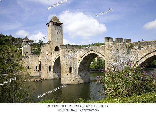 Historic Pont Valentre fortified bridge over the Lot River at Cahors, Lot, Midi Pyrenees, France