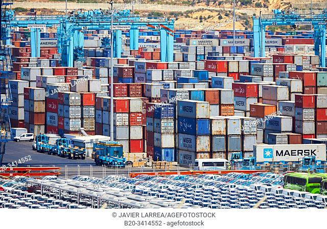 Container ship, Commercial Port of Tangier MED, Strait of Gibraltar, Tangier, Morocco, Africa