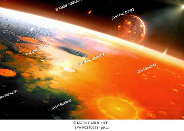 Artwork of the young Earth-Moon system. The Earth had recently formed when it was struck by a protoplanet – called Theia – roughly three times the size of...