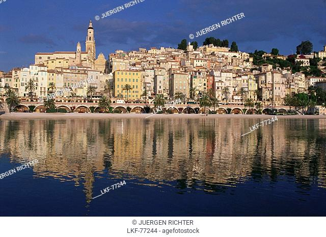 Menton, old town on the French Riviera with reflection, Cote D'Azur, Provence, France