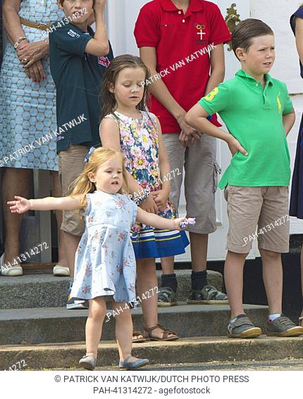 Prince Christian, Princess Isabella and Princess Josephine of Denmark pose for the media during a potosession at Grasten Palace in Denmark, 26 July 2013