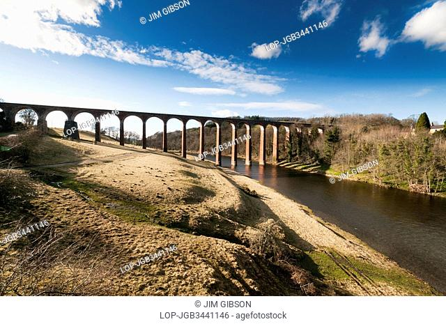 Leaderfoot Viaduct, a railway viaduct opened in 1863 over the River Tweed. in the Scottish Borders, Scotland, UK. It is 2