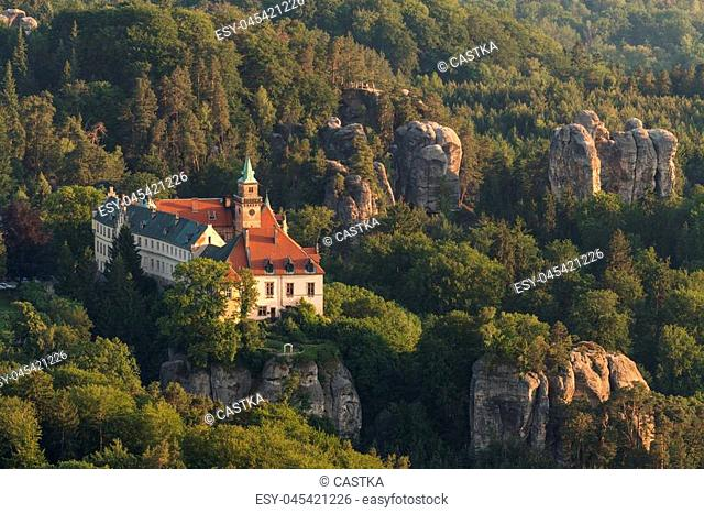 Aerial view of Hruba Skala Castle in the Bohemian Paradise